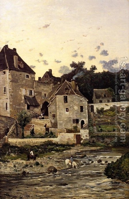 The Village of Herisson on the Banks of the Aumance by Henri-Joseph Harpignies - Reproduction Oil Painting