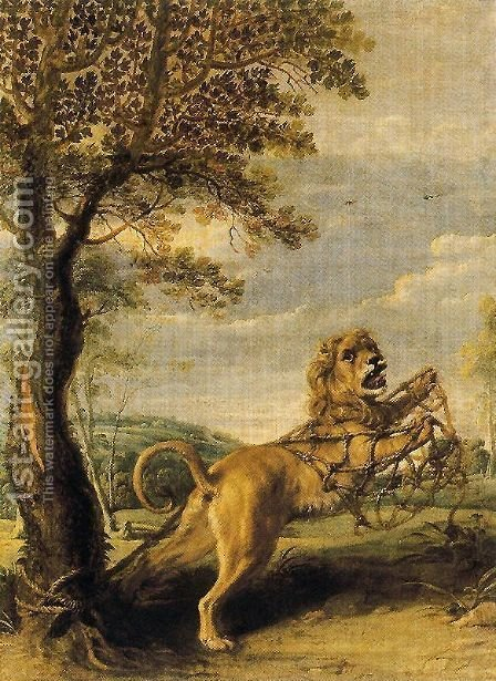 Frans Snyders: The fable of the Lion and the Mouse - reproduction oil painting