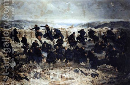 Barricade on the front of Sevastopol by Alphonse de Neuville - Reproduction Oil Painting