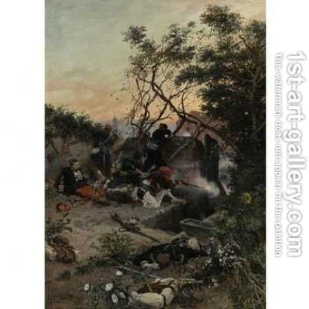 Under fire by Alphonse de Neuville - Reproduction Oil Painting