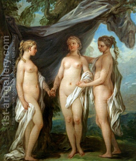 Carle van Loo: The Three Graces - reproduction oil painting