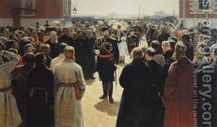 Aleksander III receiving rural district elders in the yard of Petrovsky Palace in Moscow by Ilya Efimovich Efimovich Repin - Reproduction Oil Painting