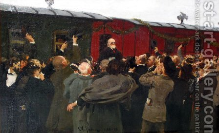 Arrival of Nikolai Ivanovich Pirogov to Moscow in the 50th anniversary of his scientific activities by Ilya Efimovich Efimovich Repin - Reproduction Oil Painting