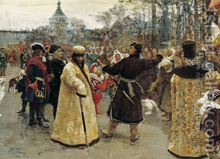 Arrival of the tsars Peter I and Ivan V by Ilya Efimovich Efimovich Repin - Reproduction Oil Painting