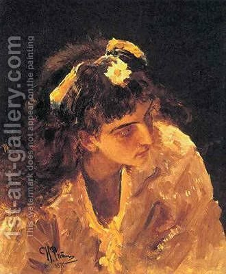 Female Head Etude for Picture by Ilya Efimovich Efimovich Repin - Reproduction Oil Painting