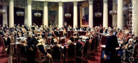 Formal Session of the State Council on May 7, 1901, in honour of the 100th Anniversary of Its Founding by Ilya Efimovich Efimovich Repin - Reproduction Oil Painting