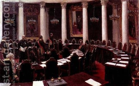 In the State Council Hall (Sketch for the picture Formal Session of the State Council) by Ilya Efimovich Efimovich Repin - Reproduction Oil Painting