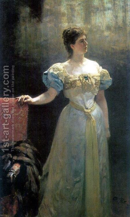 Portrait of Princess Maria Klavdievna Tenisheva, patroness of the arts, philanthropist and enamel artist by Ilya Efimovich Efimovich Repin - Reproduction Oil Painting