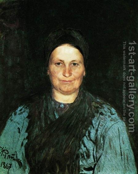 Portrait of Tatyana Stepanovna Repina, the artist's mother by Ilya Efimovich Efimovich Repin - Reproduction Oil Painting