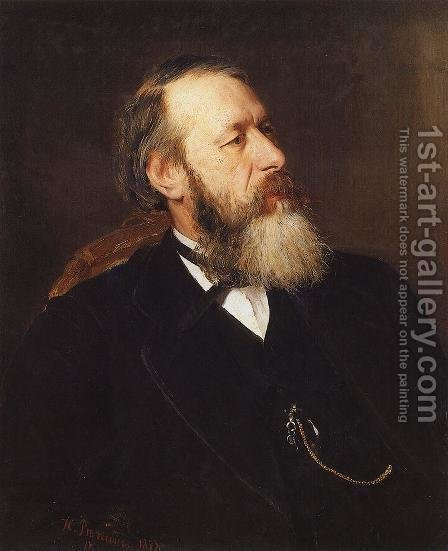 Portrait of Vladimir Vasilievich Stasov, Russian art historian and music critic by Ilya Efimovich Efimovich Repin - Reproduction Oil Painting