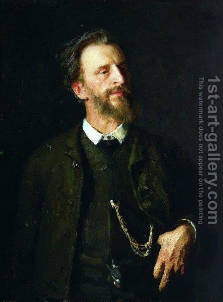 Portrait of painter Grigory Grigoryevich Myasoyedov by Ilya Efimovich Efimovich Repin - Reproduction Oil Painting