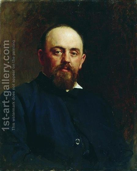Portrait of railroad tycoon and patron of the arts Savva Ivanovich Mamontov 2 by Ilya Efimovich Efimovich Repin - Reproduction Oil Painting