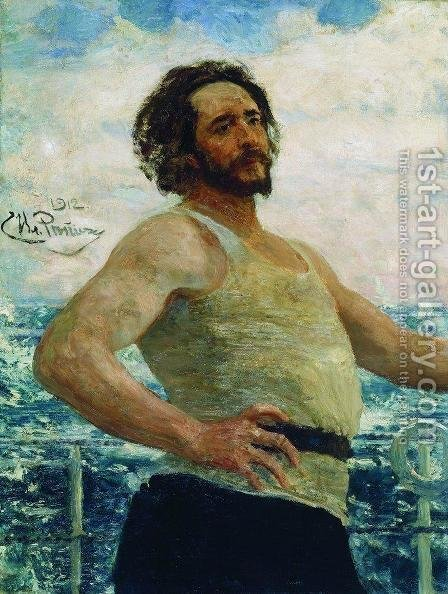 Portrait of writer Leonid Nikolayevich Andreyev on a yacht by Ilya Efimovich Efimovich Repin - Reproduction Oil Painting