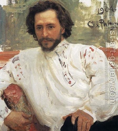 Portrait of writer Leonid Nikolayevich Andreyev by Ilya Efimovich Efimovich Repin - Reproduction Oil Painting