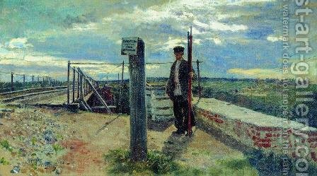 Railway guard. Khotkovo (Moscow Oblast) by Ilya Efimovich Efimovich Repin - Reproduction Oil Painting
