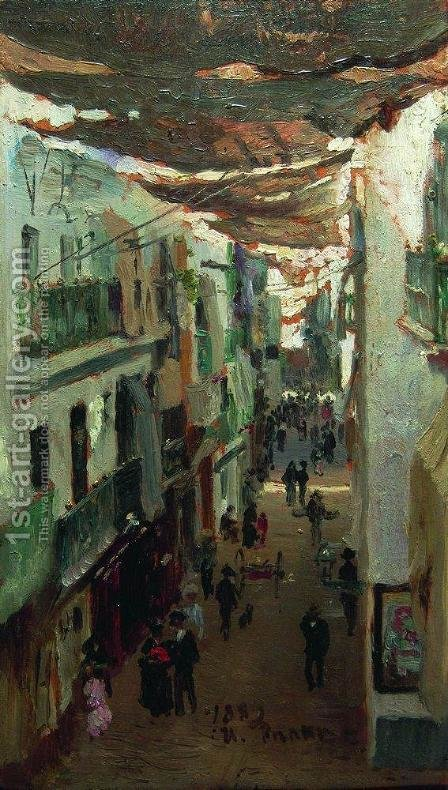 Street of the Snakes in Seville by Ilya Efimovich Efimovich Repin - Reproduction Oil Painting