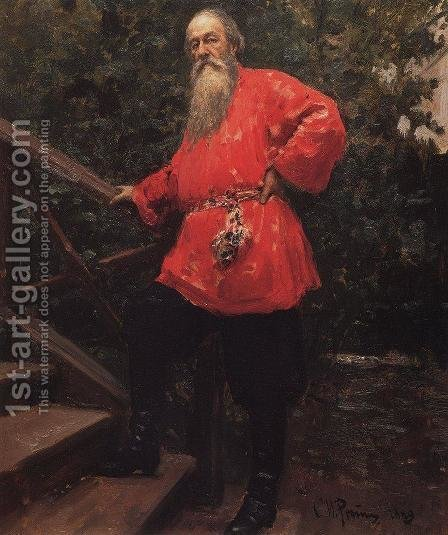 Vladimir Vasilievich Stasov in a dacha in Starozhilovka village, near Parlogovo (St. Petersburg) by Ilya Efimovich Efimovich Repin - Reproduction Oil Painting