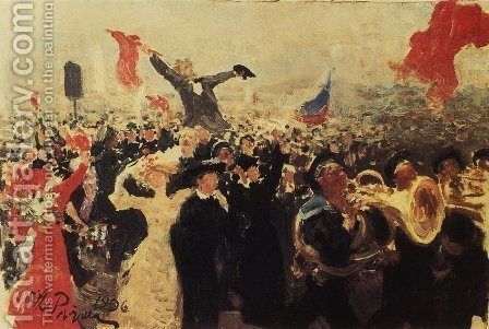 Demonstration on October 17, 1905 2 by Ilya Efimovich Efimovich Repin - Reproduction Oil Painting