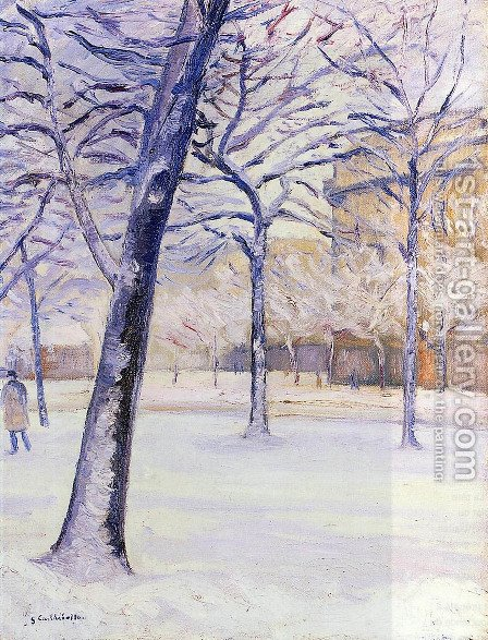 Park in the Snow, Paris by Gustave Caillebotte - Reproduction Oil Painting