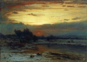 Reproduction oil paintings - George Inness - Winter, Close of Day (aka A Winter Day)