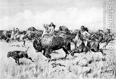 Her Calf by Frederic Remington - Reproduction Oil Painting
