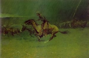 Famous paintings of Horses & Horse Riding: The Stampede