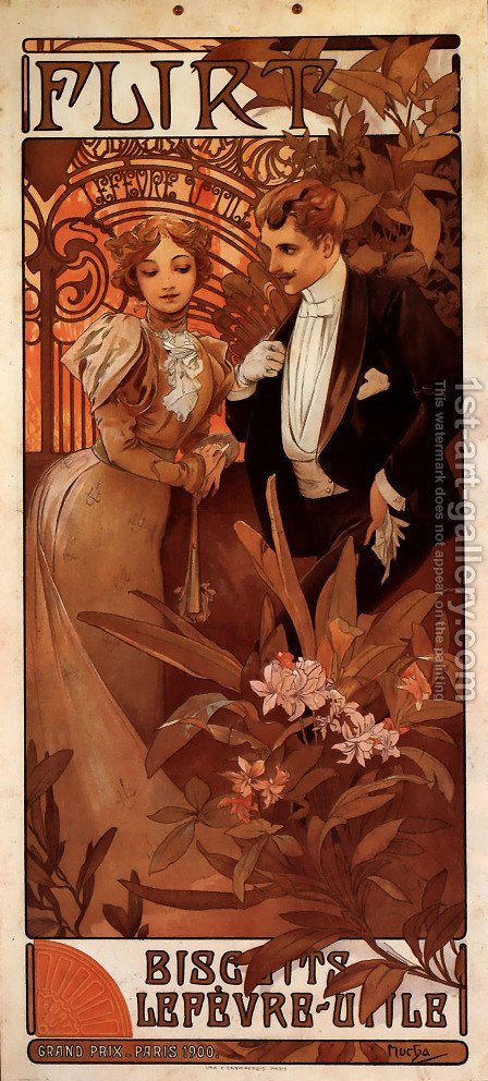 Flirt (calendar) by Alphonse Maria Mucha - Reproduction Oil Painting