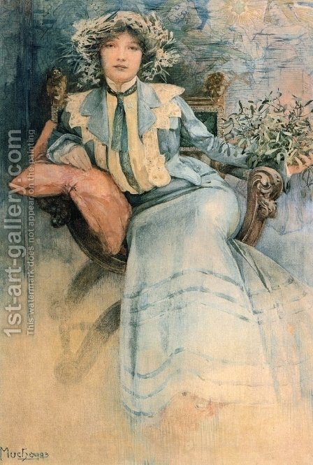 Mistletoe, Portrait of Mme. Mucha by Alphonse Maria Mucha - Reproduction Oil Painting