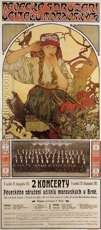 Morovian Teachers Choir by Alphonse Maria Mucha - Reproduction Oil Painting