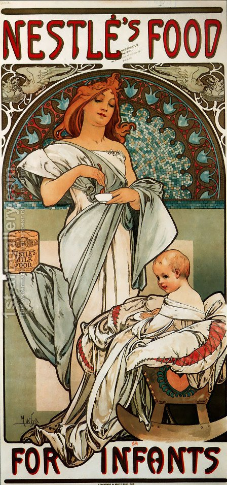 Nestlé's Food for Infants by Alphonse Maria Mucha - Reproduction Oil Painting