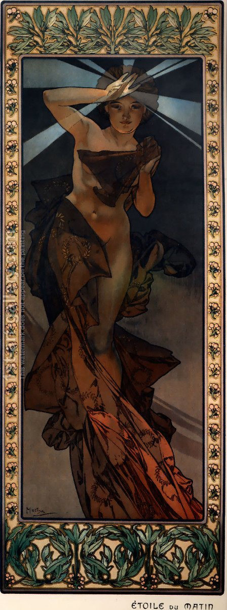 The Moon And The Stars, Morning Star by Alphonse Maria Mucha - Reproduction Oil Painting