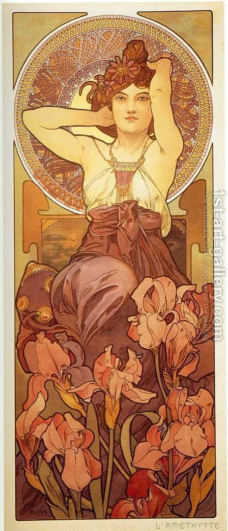 The Precious Stones, Amethyst by Alphonse Maria Mucha - Reproduction Oil Painting