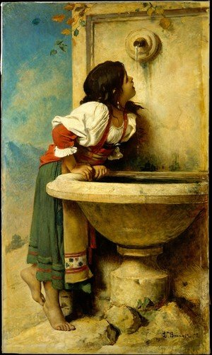 Famous paintings of Fountains: Roman Girl at a Fountain