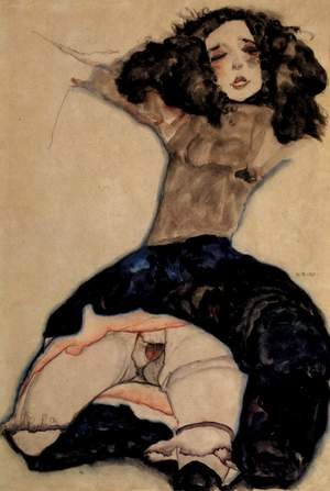 Reproduction oil paintings - Egon Schiele - Black-haired girl with high skirt