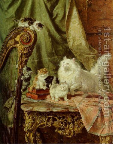 A musical interlude by Henriette Ronner-Knip - Reproduction Oil Painting