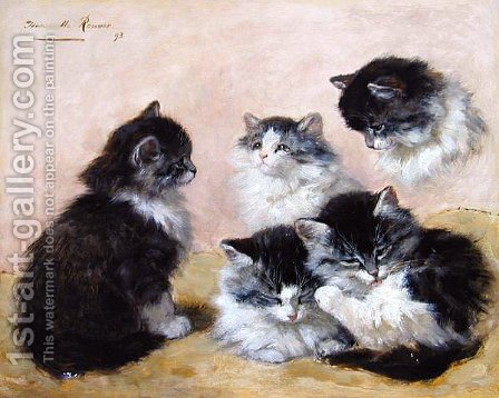 Kittens by Henriette Ronner-Knip - Reproduction Oil Painting