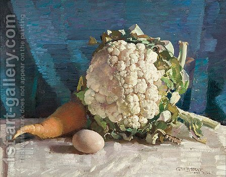Egg and cauliflower still life by George Lambert - Reproduction Oil Painting