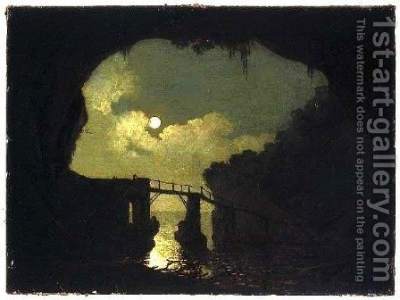 Bridge through a Cavern, Moonlight by Joseph Wright - Reproduction Oil Painting