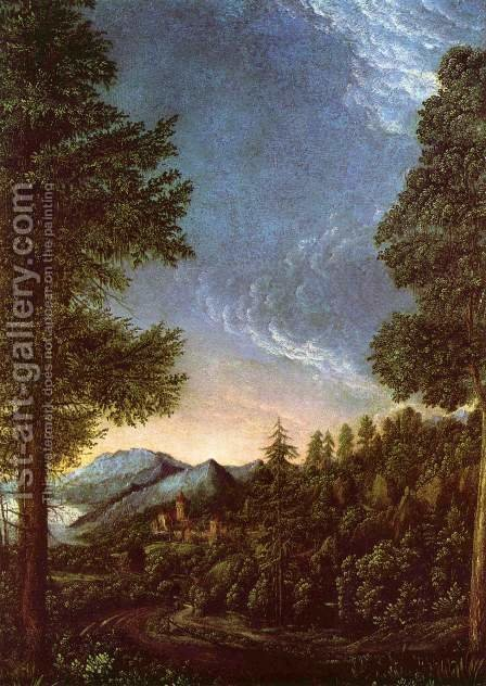 Danube landscape with Wörth castle by Albrecht Altdorfer - Reproduction Oil Painting