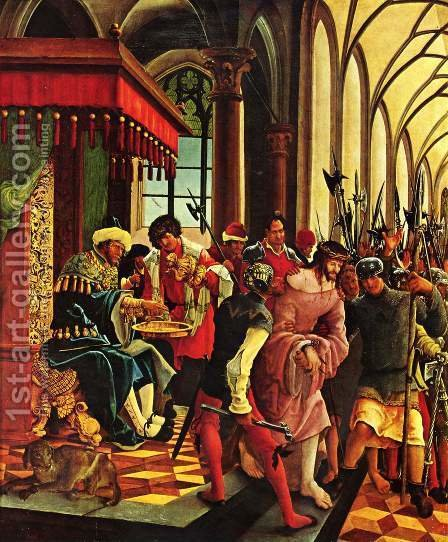 Hand washing of the Pilatus (Sebastian altar of the Augustinian Monastery men's choir of St. Florian near L by Albrecht Altdorfer - Reproduction Oil Painting