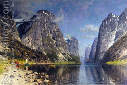 Boats in a Fjord (Båter på fjorden) by Adelsteen Normann - Reproduction Oil Painting