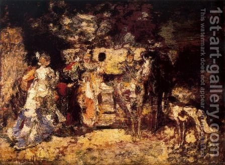 Ladies in a park by Adolphe Joseph Thomas Monticelli - Reproduction Oil Painting