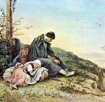 Rest under the road cross by Adrian Ludwig Richter - Reproduction Oil Painting