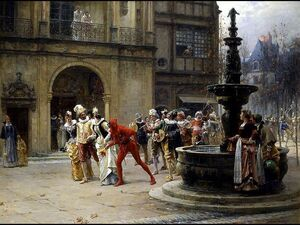 Famous paintings of Fountains: A Masquerade in XVII century