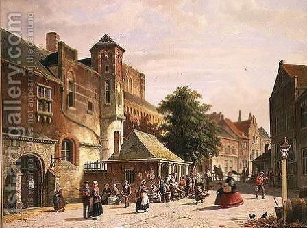 A Street Scene in Amsterdam by Adrianus Eversen - Reproduction Oil Painting