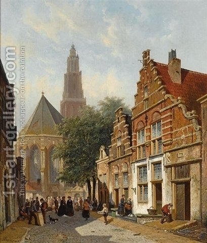 Elegant figures in a sunlit Dutch town by Adrianus Eversen - Reproduction Oil Painting