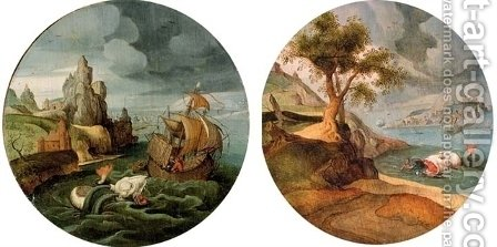 Jonas thrown in the water and Jonas and the whale by Abel Grimmer - Reproduction Oil Painting