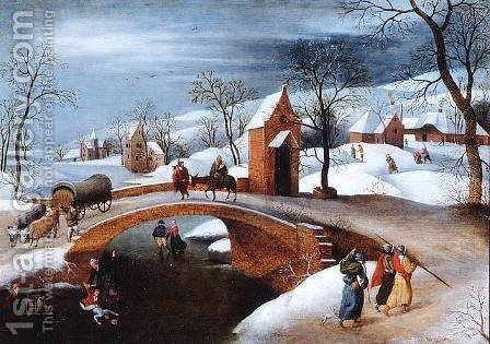 Winter landscape with Flight into Egypt by Abel Grimmer - Reproduction Oil Painting