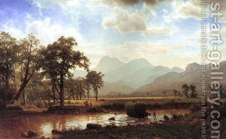 Crossing the river by Albert Bierstadt - Reproduction Oil Painting