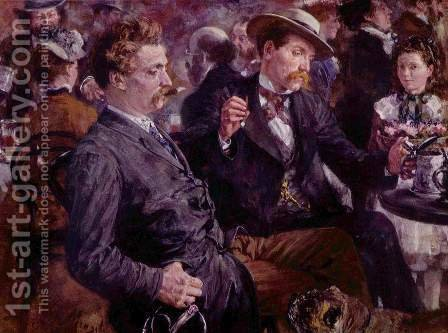 At the beer garden by Adolph von Menzel - Reproduction Oil Painting